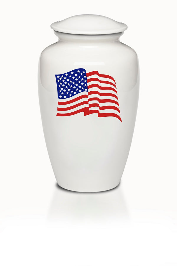American Flag White Cremation Urn