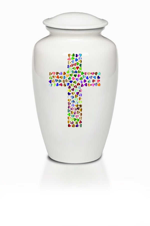 Colorful Hearts in Cross White Cremation Urn