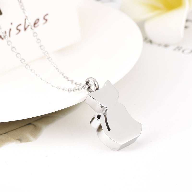 Silver Cat Cremation Necklace