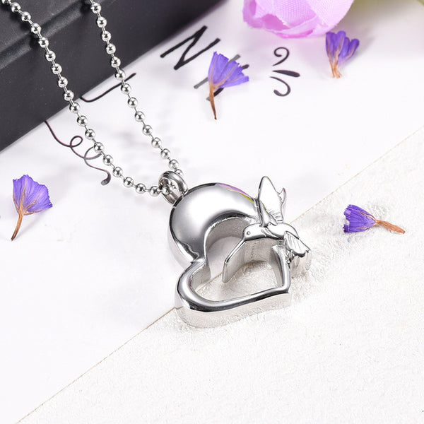 Heart and Hummingbird Cremation Necklace