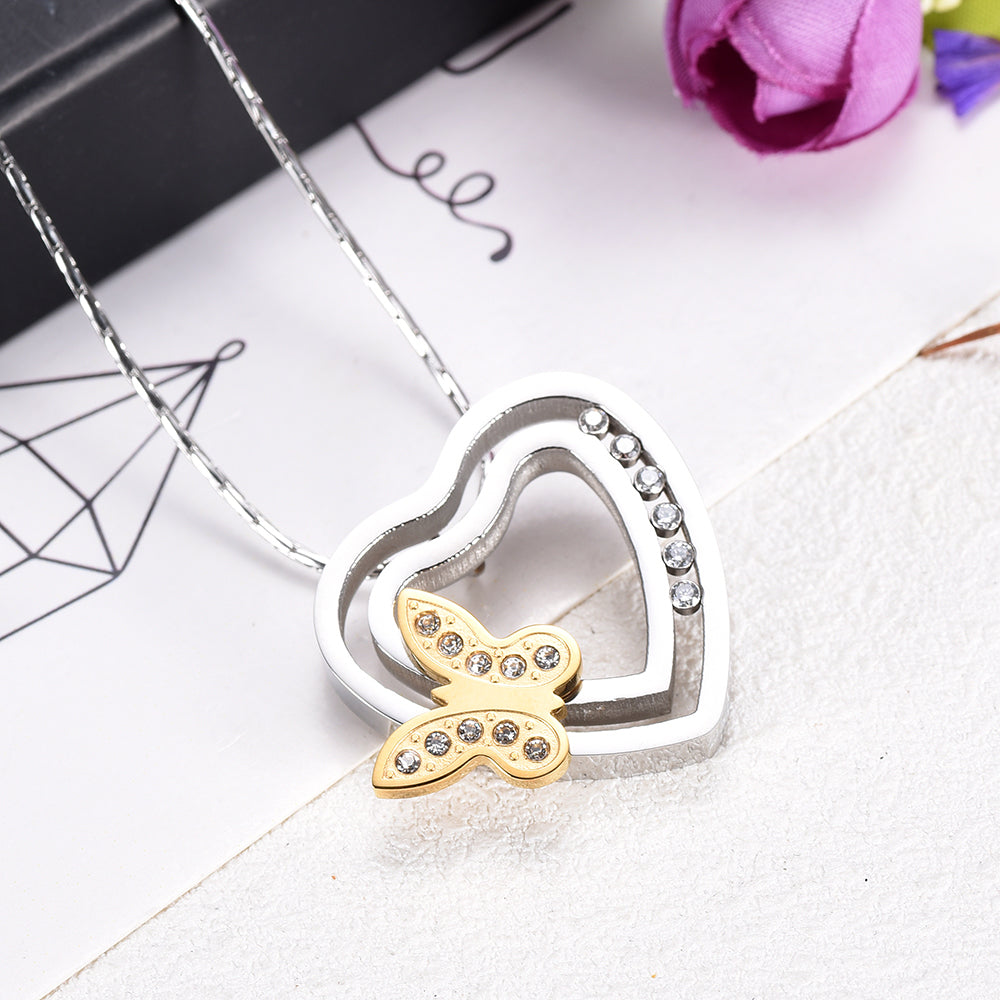 Butterfly on Heart Cremation Necklace