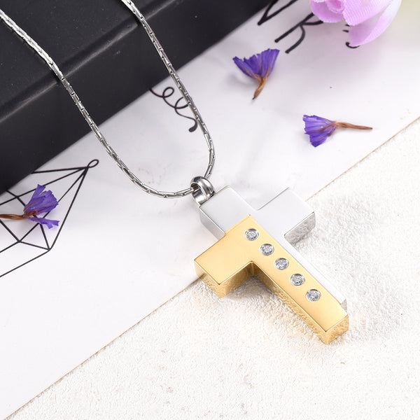 Silver and Gold Cremation Cross Necklace