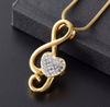 Sweet Music on Heart Cremation Necklace