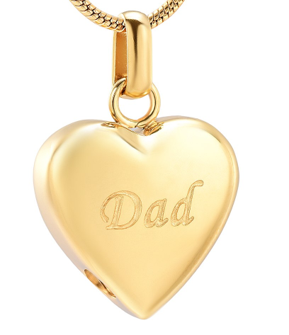 Loving Dad Golden Heart Cremation Necklace
