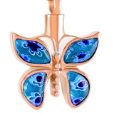 Floral Crystal Butterfly Cremation Urn Necklace
