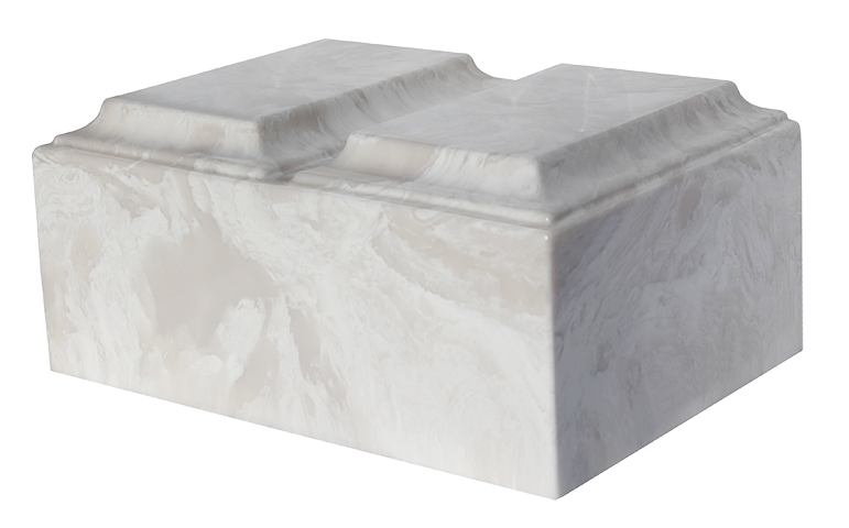 White Carrera Double Tuscany Cultured Marble Urn