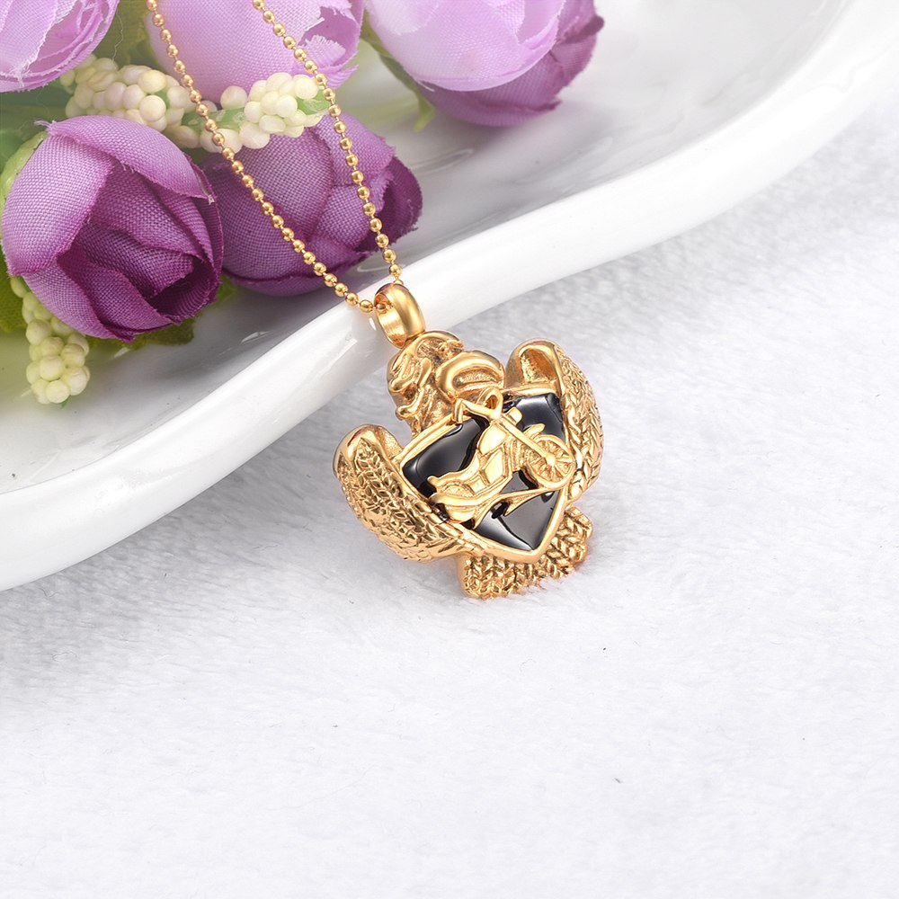 Eagle And Motorcycle Cremation Necklace