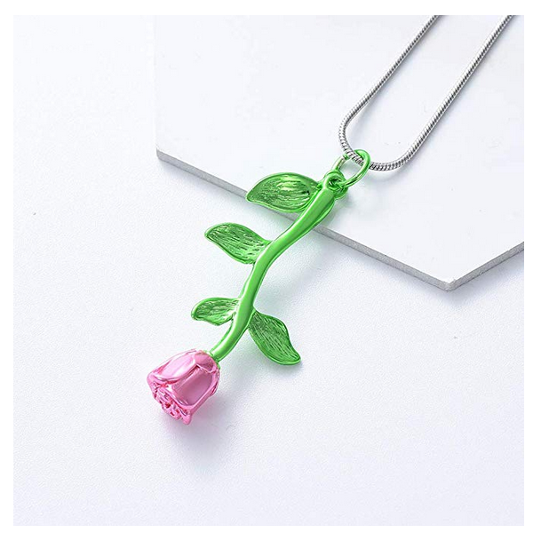 Pink Rose Cremation Urn Necklace