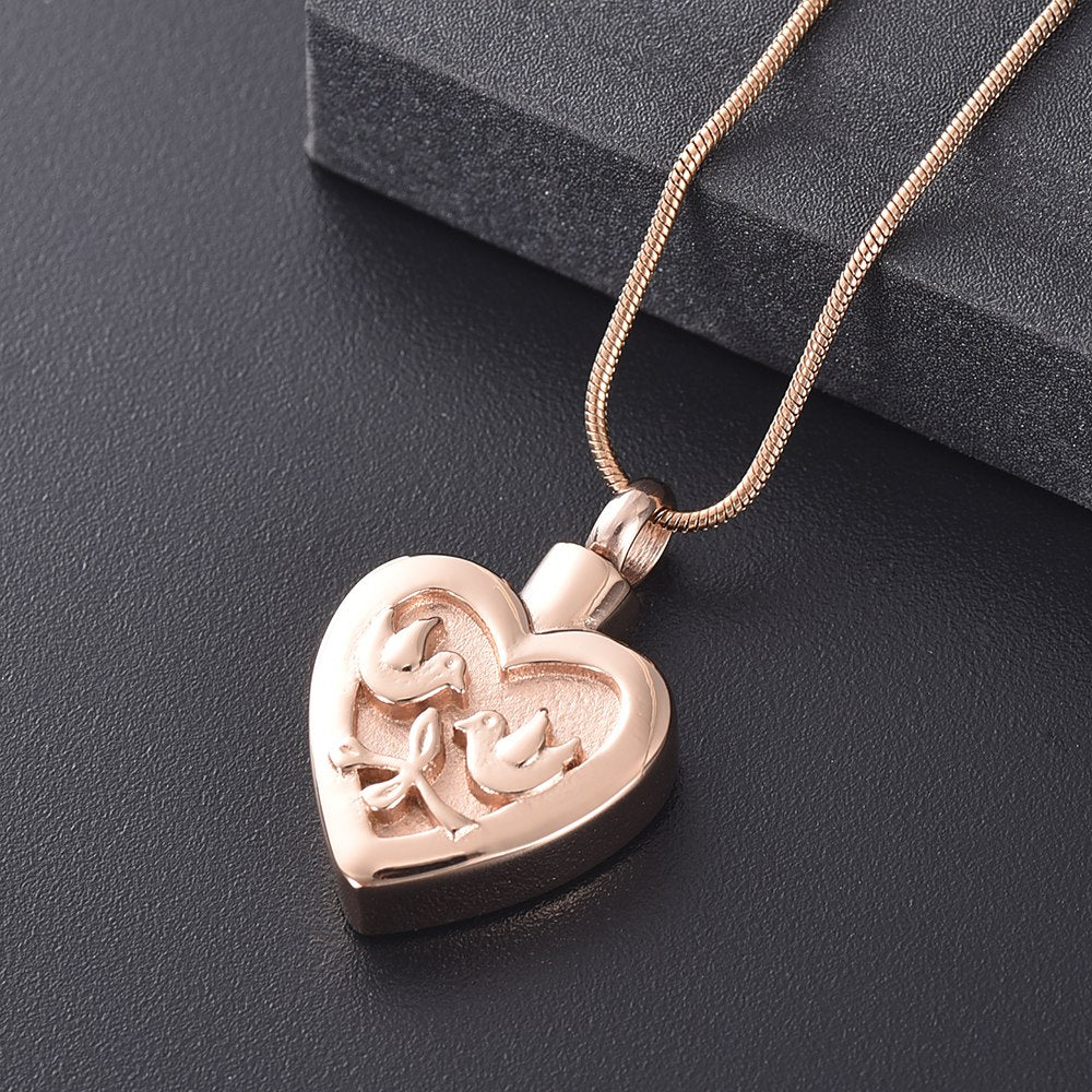 Double Dove Heart Urn Necklace
