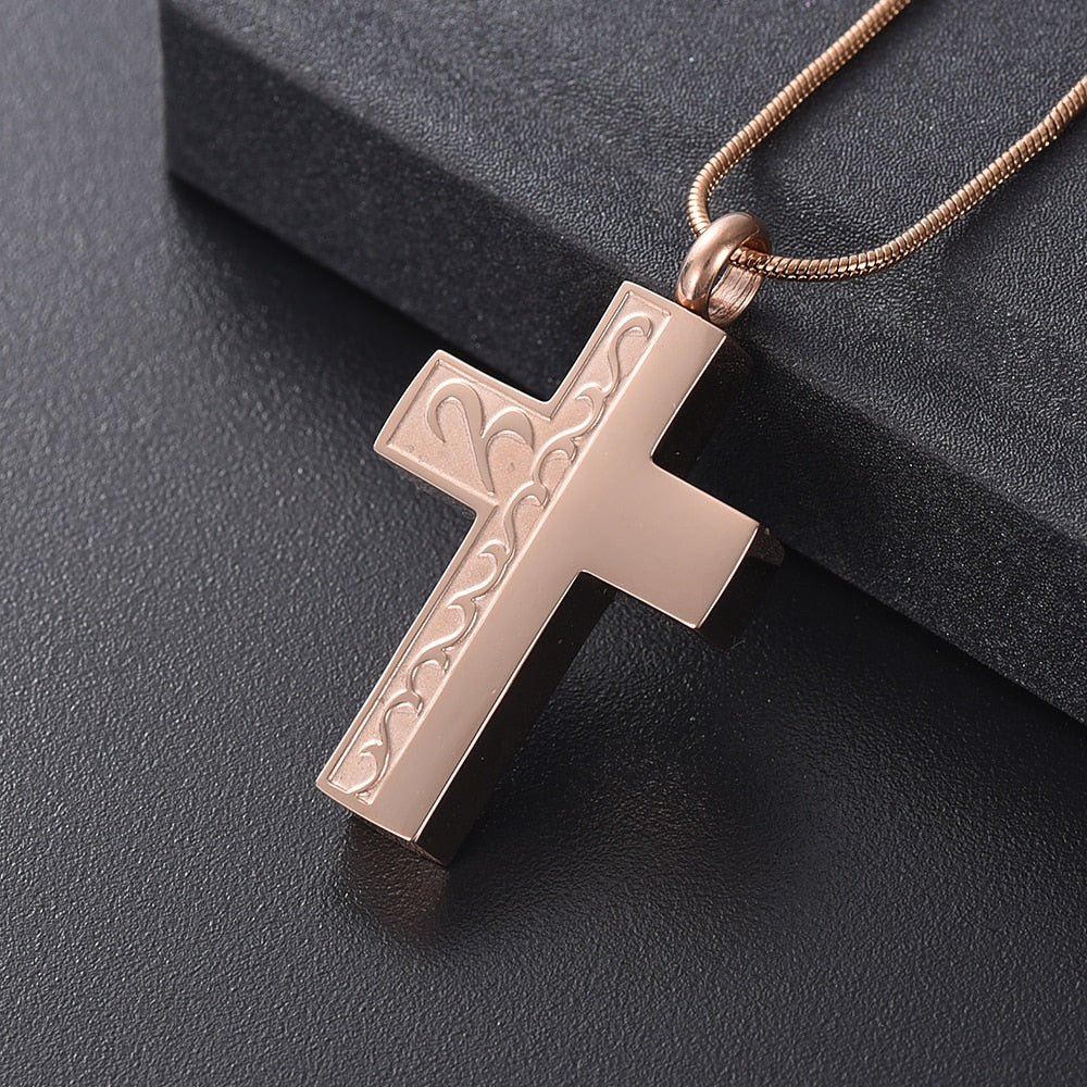 Calming Waves Cremation Cross Necklace