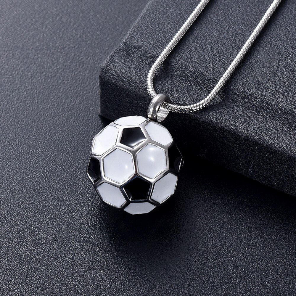 Soccer Ball Cremation Necklace
