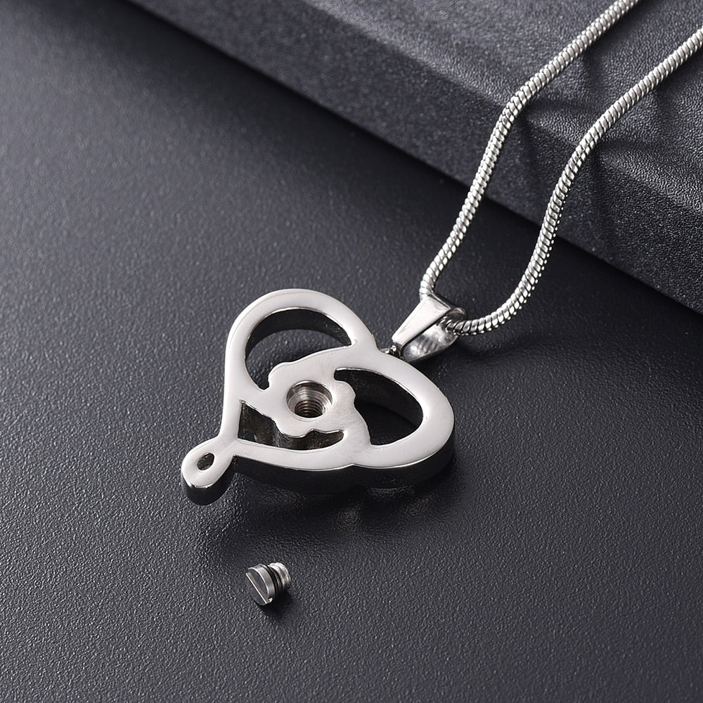 Swirling Heart Pet Urn Necklace