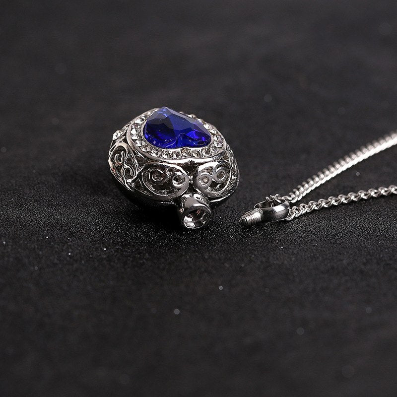 Royal Blue Crystal Heart Urn Necklace
