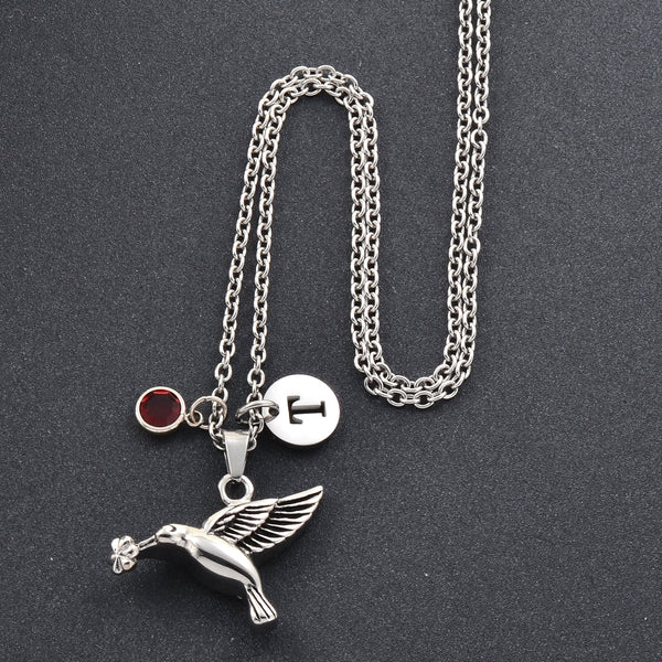 Birthstone Hummingbird Cremation Necklace