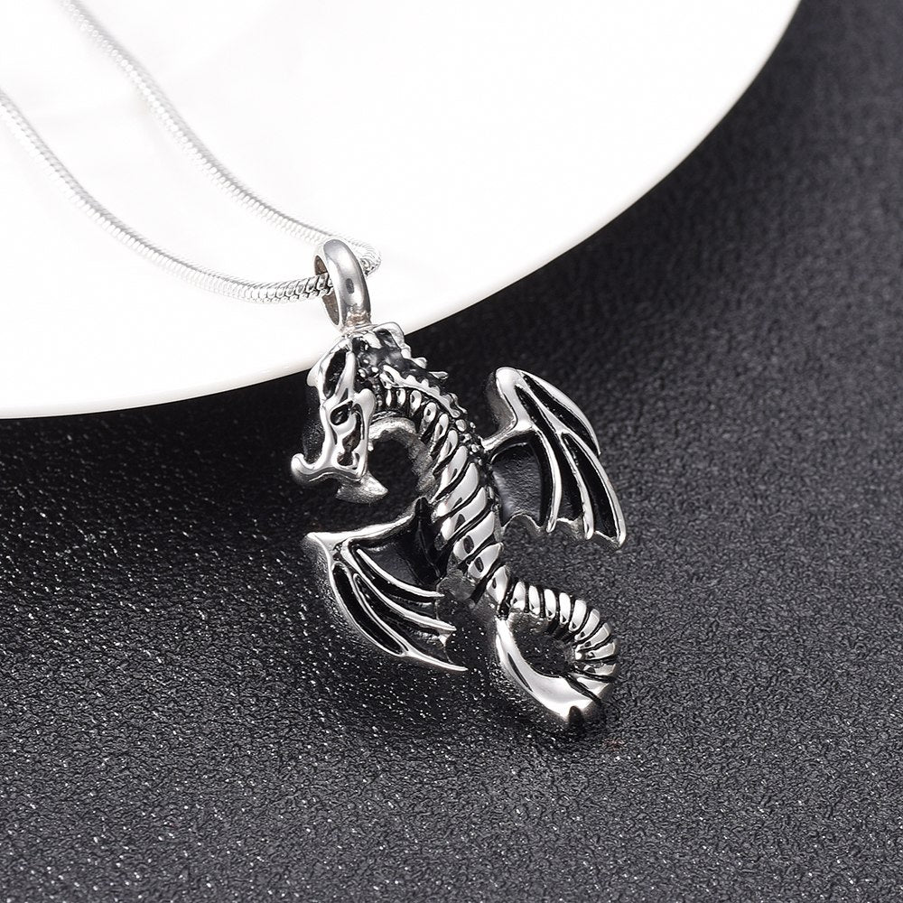 Skeleton Dragon Cremation Necklace