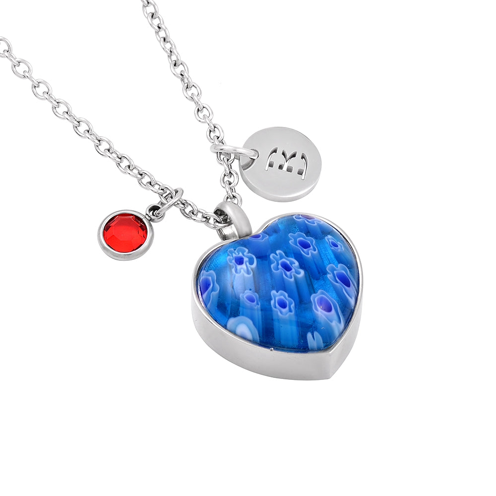 Handstamped Blue Colored Glass Urn Necklace