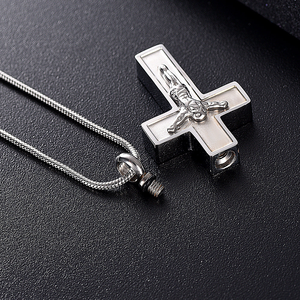 Jesus Cross Cremation Necklace