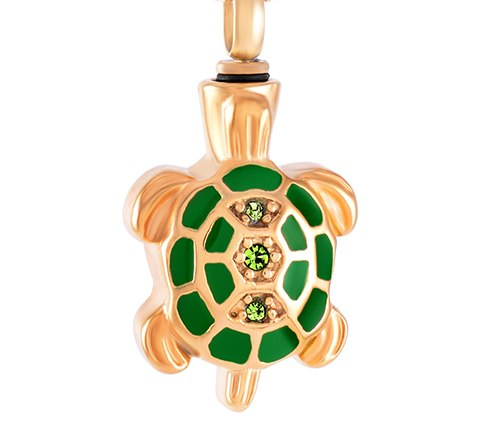 Crystal Turtle Cremation Necklace