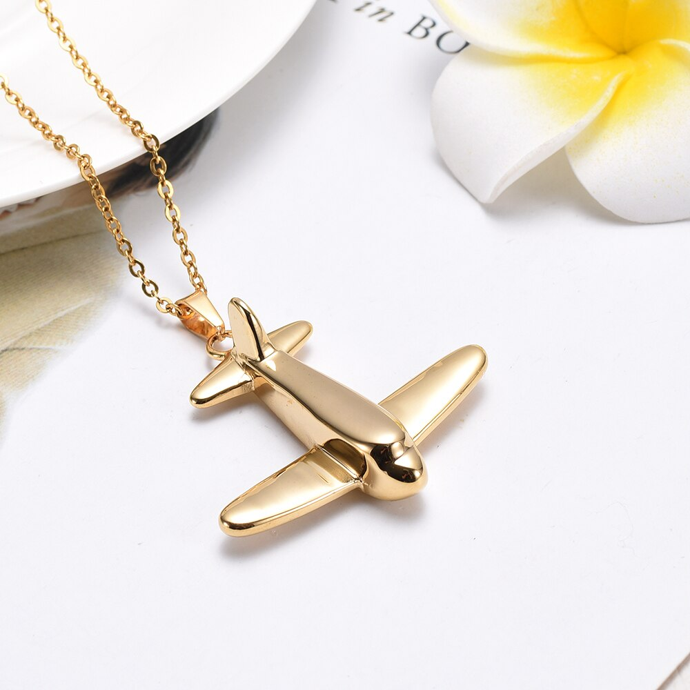 Soaring Airplane Cremation Necklace
