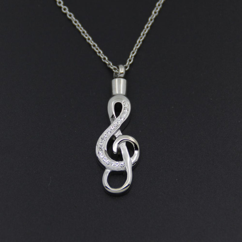 Music Note Cremation Necklace