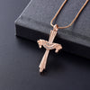 Crystal Drape Cremation Cross Necklace