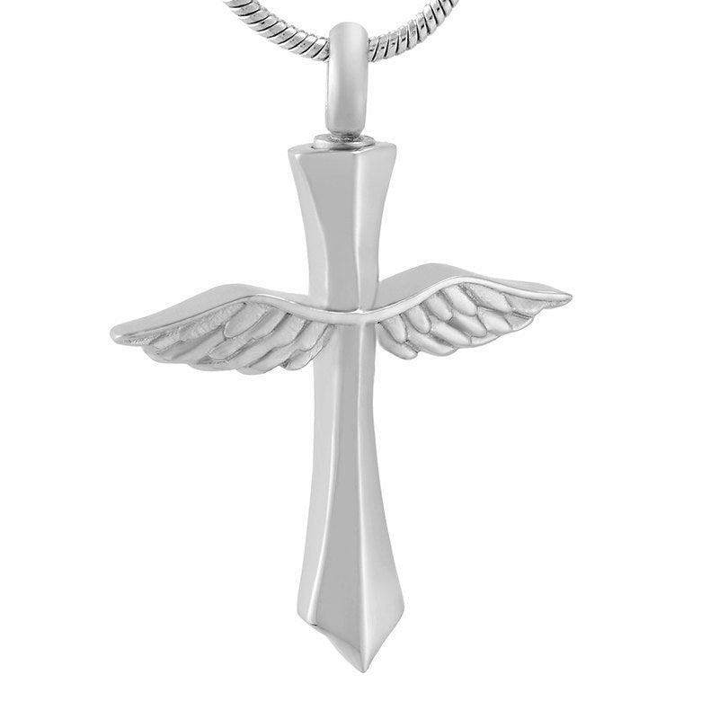 Angel Wings Cross Cremation Necklace