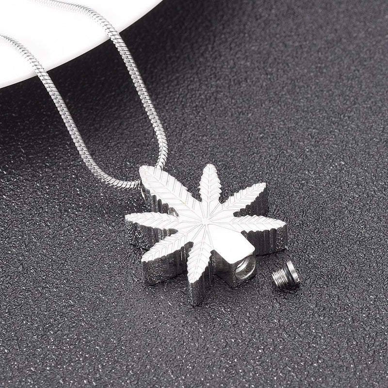 Pot Leaf Cremation Necklace