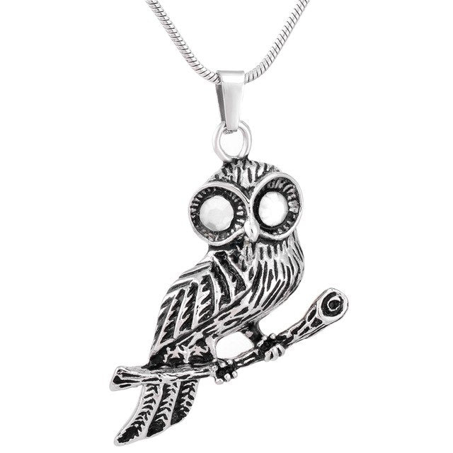 Perched Owl Urn Necklace