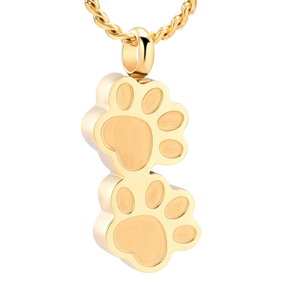 Double Paw Prints Pet Cremation Necklace
