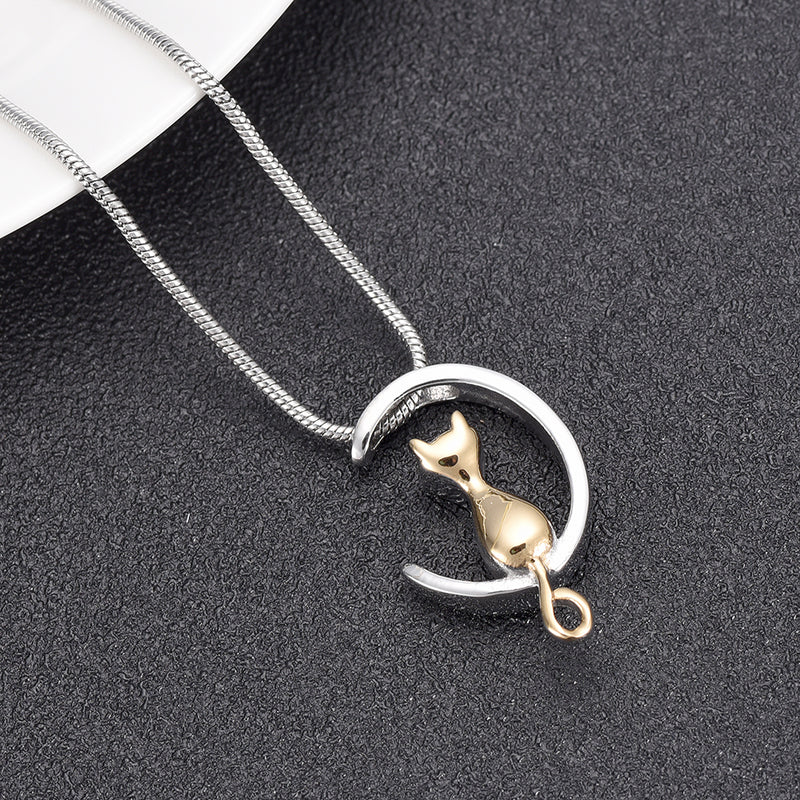 Sitting Cat Cremation Necklace