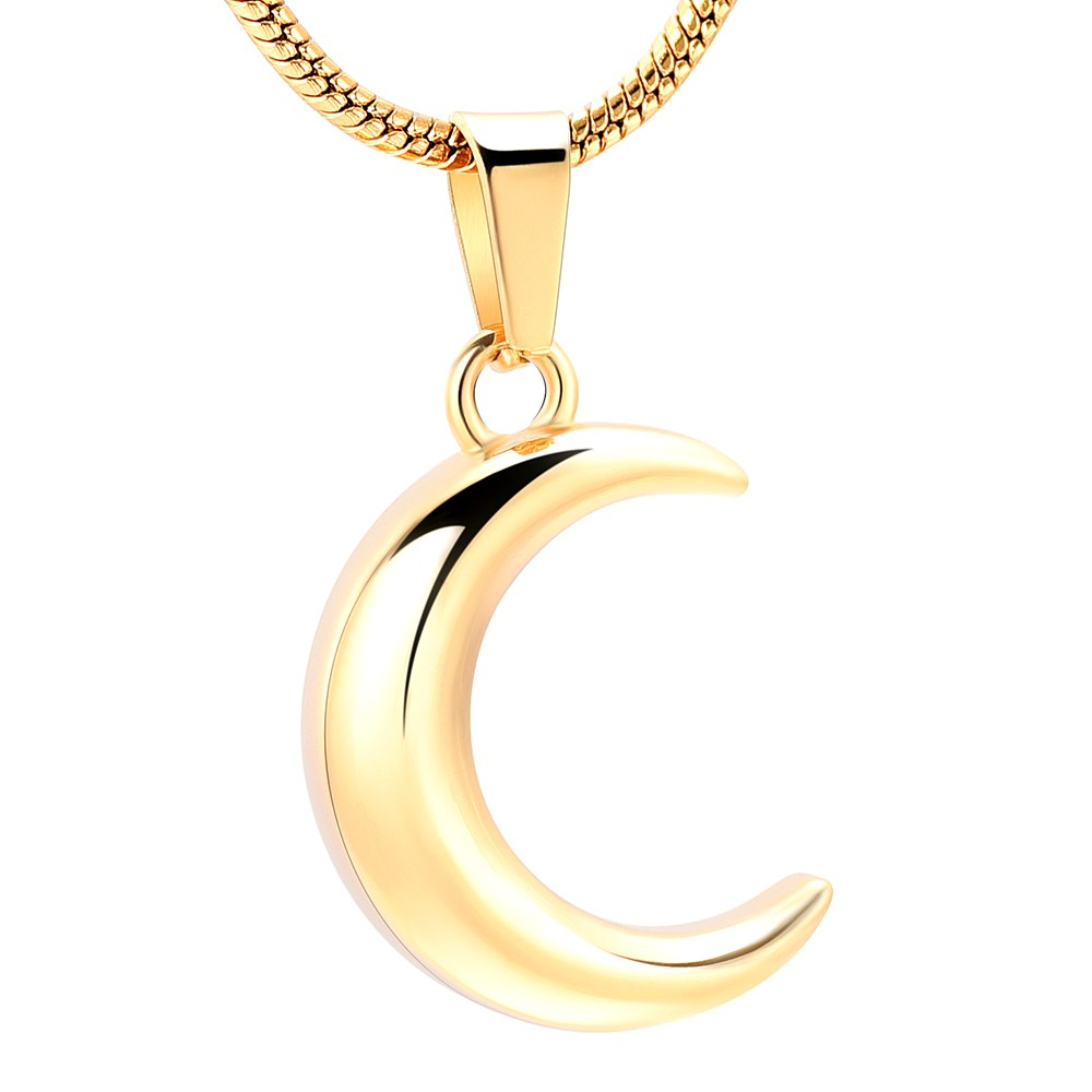 Crescent Moon Cremation Urn Necklace