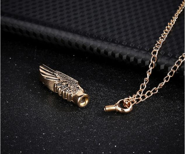 Gold Angel Wing Urn Necklace