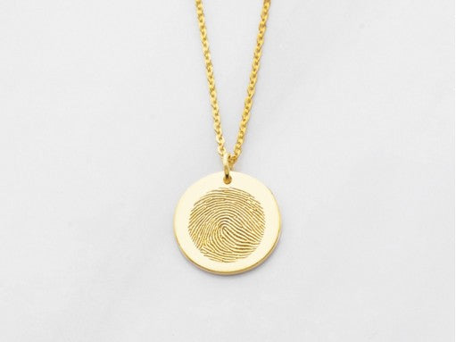 Perfectly Round Disc Fingerprint Necklace