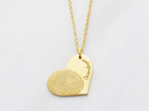Sideways Heart Fingerprint Necklace