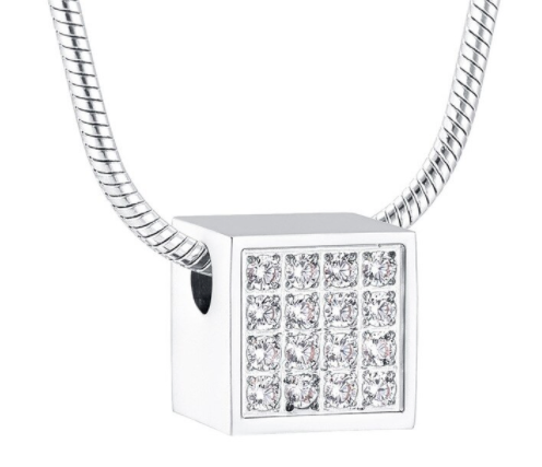 Crystal Cube Cremation Necklace