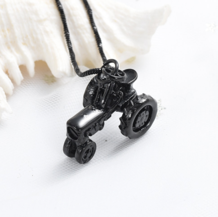 Tractor Cremation Necklace
