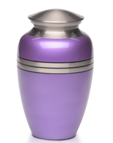 Metallic Purple Brass Cremation Urn