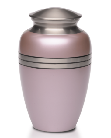Metallic Pink Brass Cremation Urn