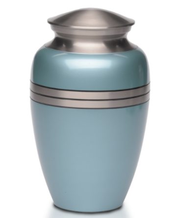 Metallic Blue Brass Cremation Urn
