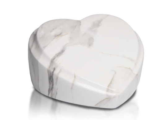 Pure White Heart Resin Urn