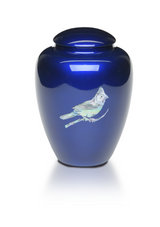 Blue Cardinal Mother of Pearl Urn