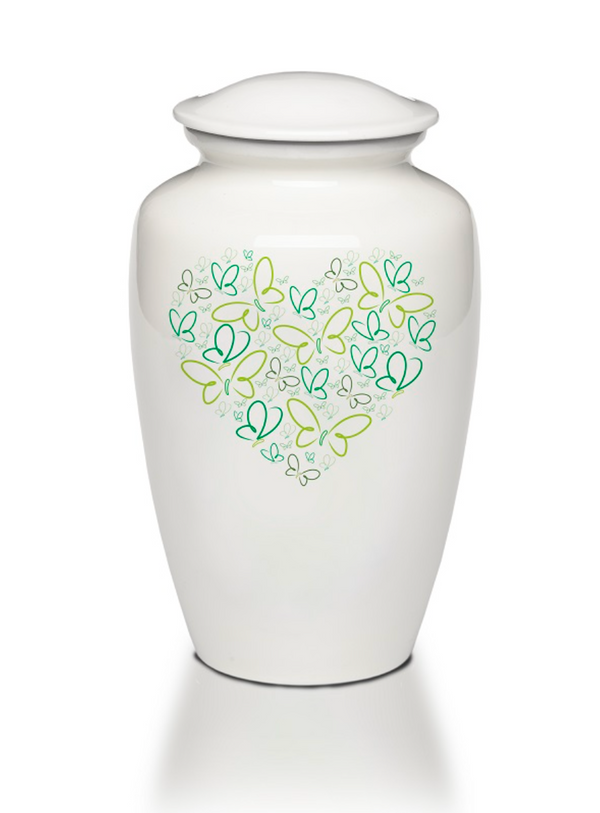 Green Heart of Butterflies Cremation Urn