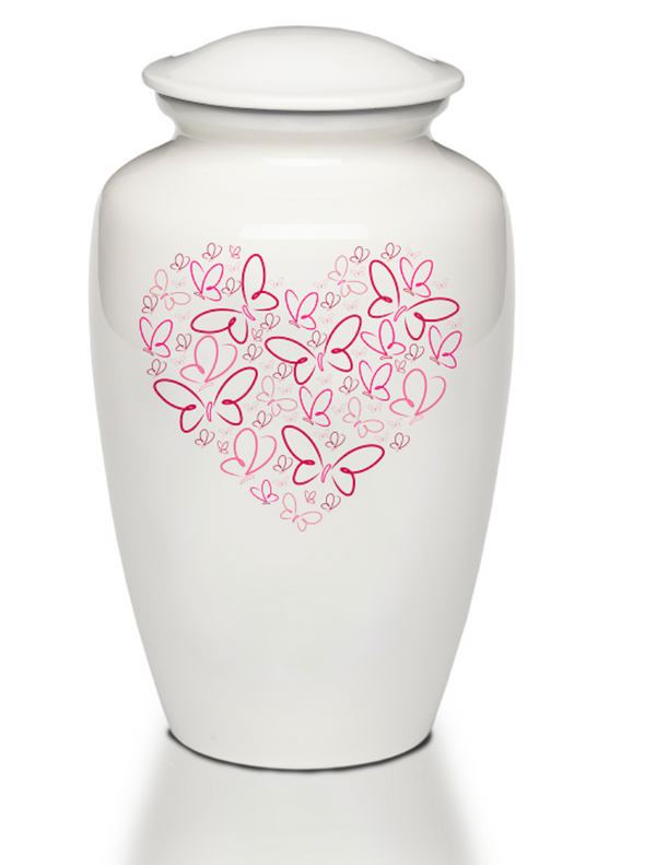 Pink Heart of Butterflies Cremation Urn