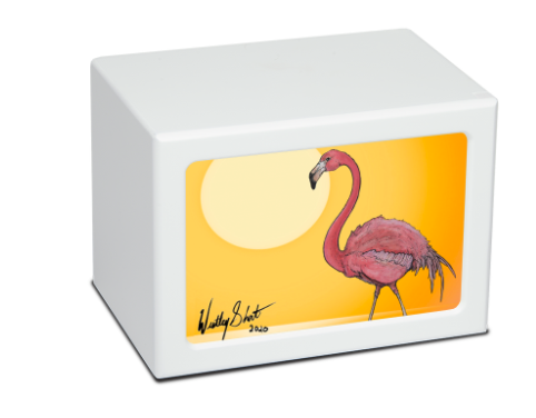 white Photo Frame Flamingo Cremation Urn