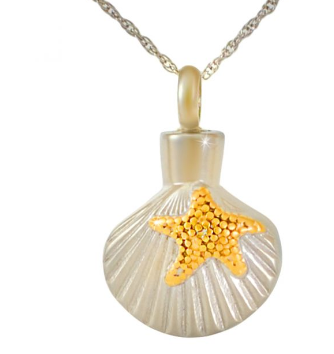 Gold Starfish on Shell Stainless Steel Cremation Necklace