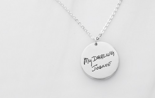 Disc Signature Pendant Necklace funeral direct