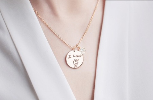 Disc Signature Pendant Necklace with Button Diamond Charm