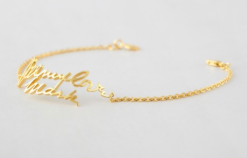 Cut-out Handwriting Bracelet