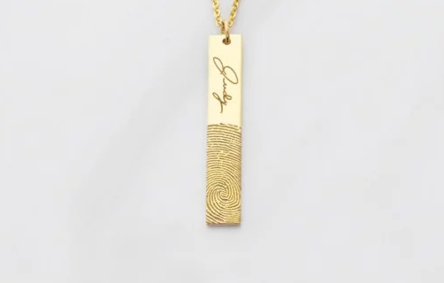 Drop Bar Fingerprint Necklace with Handwriting