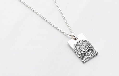 Rectangular Thumbprint Memorial Necklace